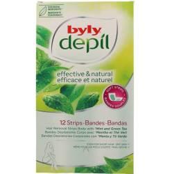 DEPIL bandas corporales menta y té verde 12 uds