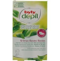 DEPIL bandas faciales menta y té verde 12 uds