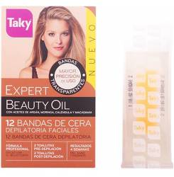 BEAUTY OIL bandas de cera faciales depilatorias 12 +8 uds